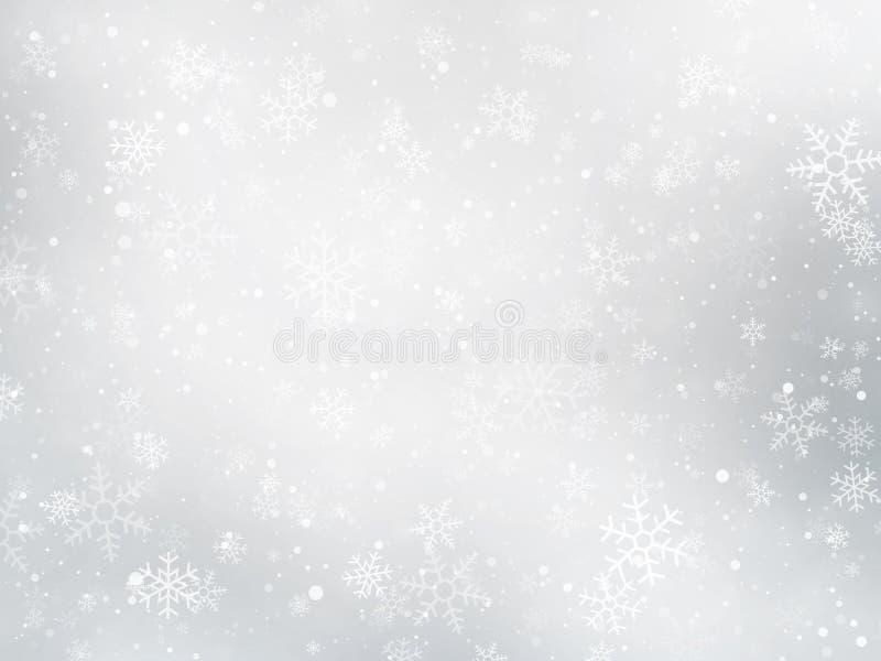 Bakgrund för silvervinterjul med snöflingor stock illustrationer