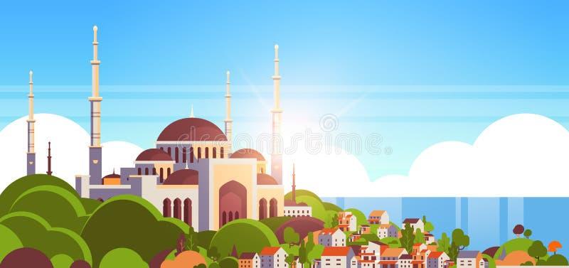 Bakgrund för sjösida för muslim cityscape för begrepp för religion för Nabawi moskébyggnad horisontalhärlig framlänges royaltyfri illustrationer