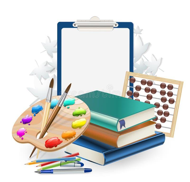 Bakgrund för skolaobjektsammansättning med borstar och konstpaletten stock illustrationer