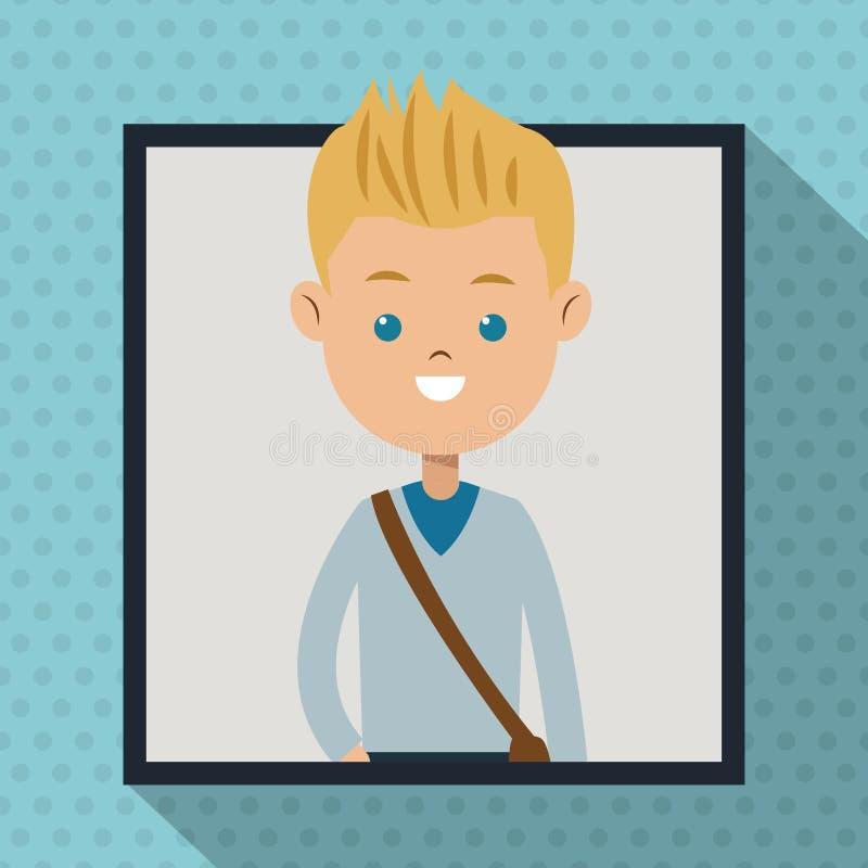 Bakgrund för skugga för prick för ram för grå färger för studentpojketröja stock illustrationer