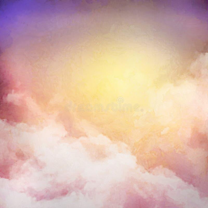 Bakgrund för soluppgånghimmelmålning stock illustrationer
