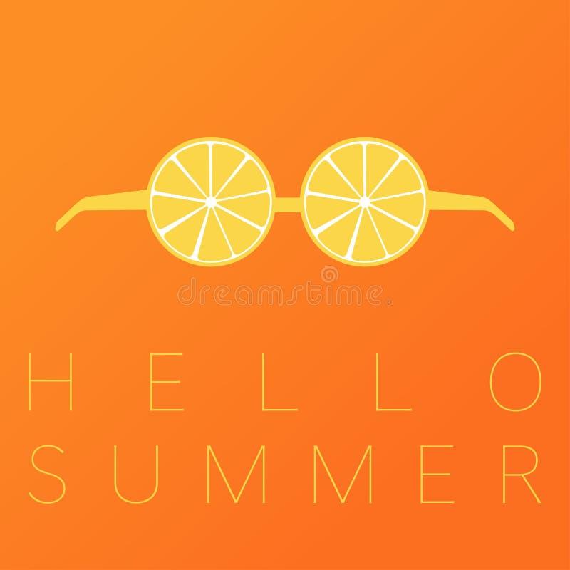 Bakgrund för sommar för citronexponeringsglashälsningar gul orange vektor illustrationer