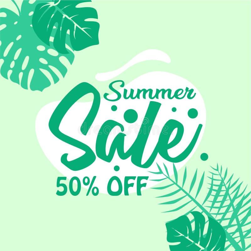 Bakgrund för sommarförsäljningsaffisch 50 procent av vektor illustrationer