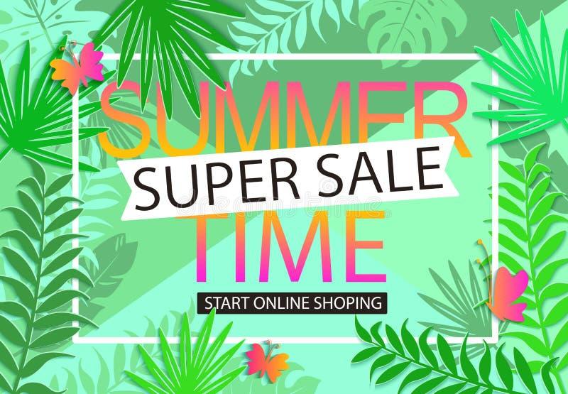 Bakgrund för sommarförsäljningsdjungel stock illustrationer