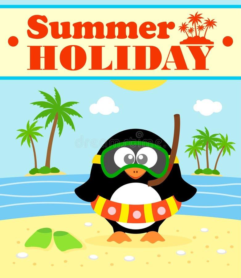 Bakgrund för sommarferie med pingvinet vektor illustrationer