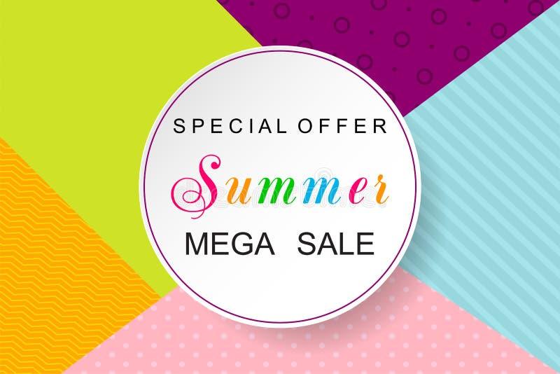 Bakgrund för sommarSale design Sale affisch också vektor för coreldrawillustration stock illustrationer