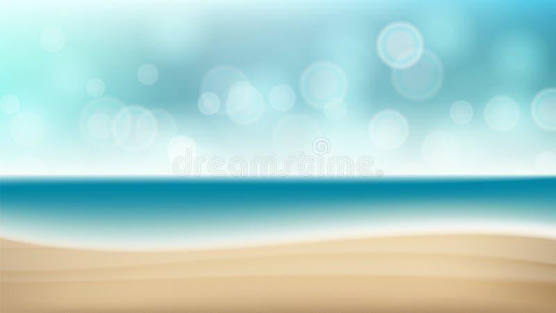 Bakgrund för sommarstrandvektor Semester för sommar för suddighetshavskust utomhus- Kryssningillustration royaltyfri illustrationer