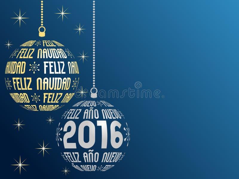 Bakgrund 2016 för spansk glad jul och för lyckligt nytt år royaltyfri illustrationer