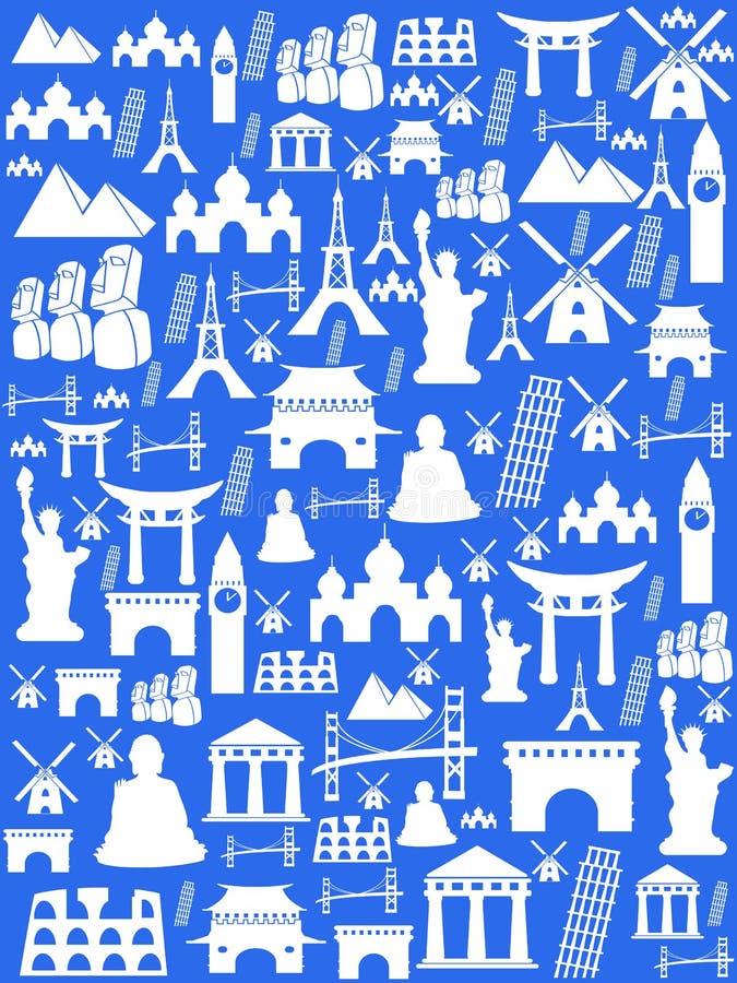 Bakgrund för ställen för sömlösa loppmonument berömd stock illustrationer