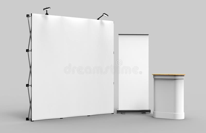 Bakgrund för ställning för baner för skärm för utställningspänningstyg för ställning för advertizing för handelshow med LEDD ELLE royaltyfria bilder