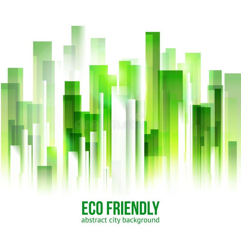 Bakgrund för stad för Eco vänskapsmatchgräsplan royaltyfri illustrationer