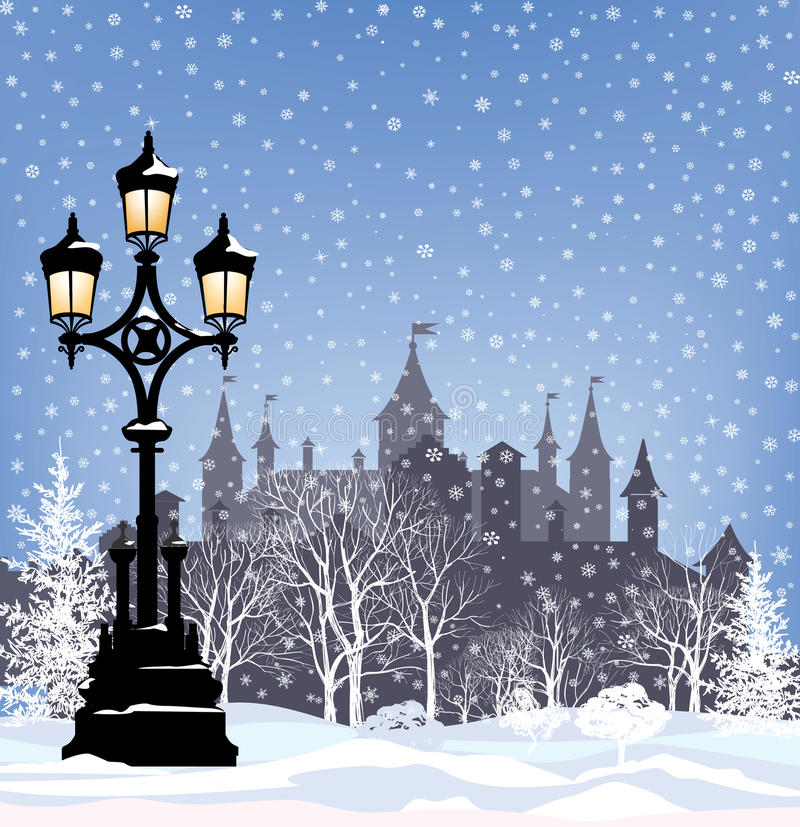 Bakgrund för stad för snö för vinterferie Landskap för glad jul royaltyfri illustrationer