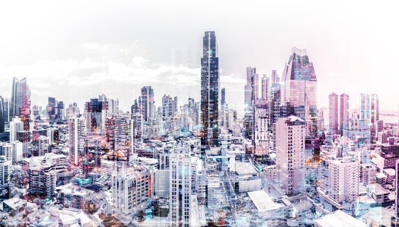 Bakgrund för stad för flyg- abstrakt cityscape för stadshorisont modern arkivbild