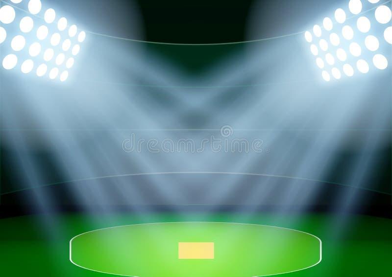 Bakgrund för stadion för affischnattsyrsa i strålkastaren vektor royaltyfri illustrationer