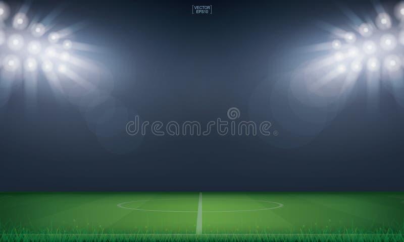 Bakgrund för stadion för fotbollfält eller för fotbollfält vektor royaltyfri illustrationer