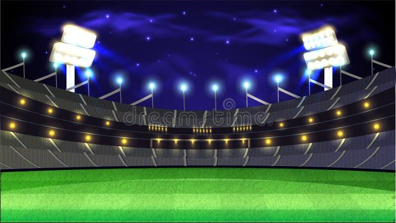 Bakgrund för stadion för syrsaturneringnatt royaltyfri illustrationer