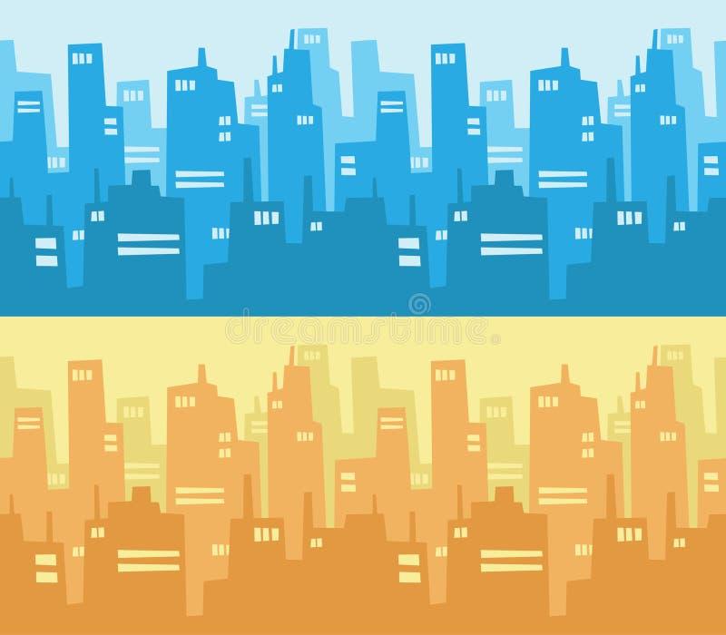 Bakgrund för stadsskyskrapakontur vektor illustrationer