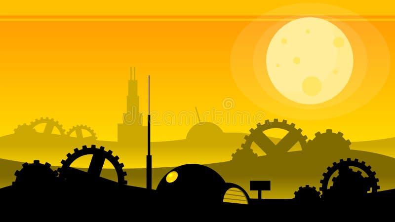 Bakgrund för Steampunk ofruktbar markvideospel stock illustrationer