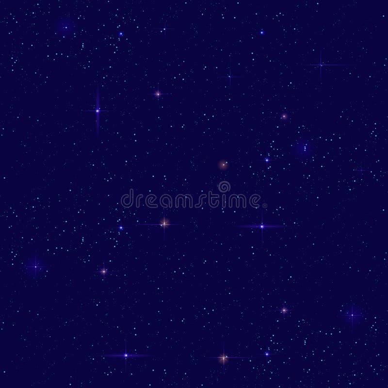 Bakgrund för stjärnklar himmel för natt sömlös Små avlägsna stjärnasken på mörk himmel royaltyfri illustrationer