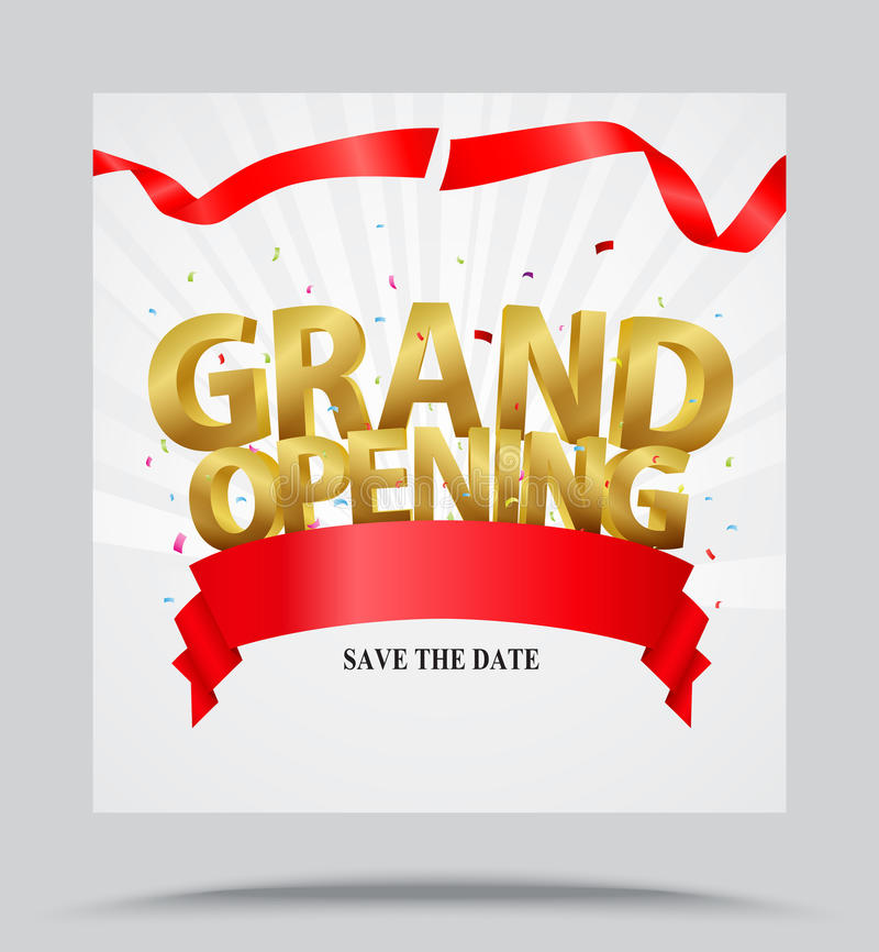 Bakgrund för storslagen öppning med konfettier royaltyfri illustrationer