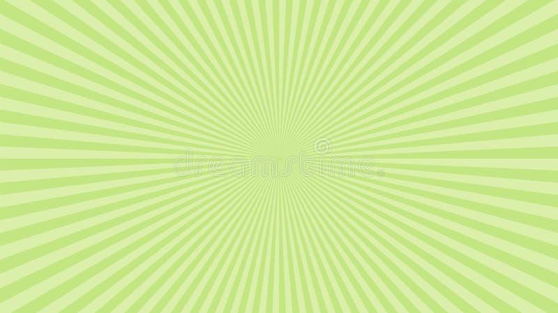 Bakgrund för Sun-rastrering Grön strålningskänsla solstrålens sprängningseffekt Blixtboom för solljus Startaffisch för mall Sollj stock illustrationer