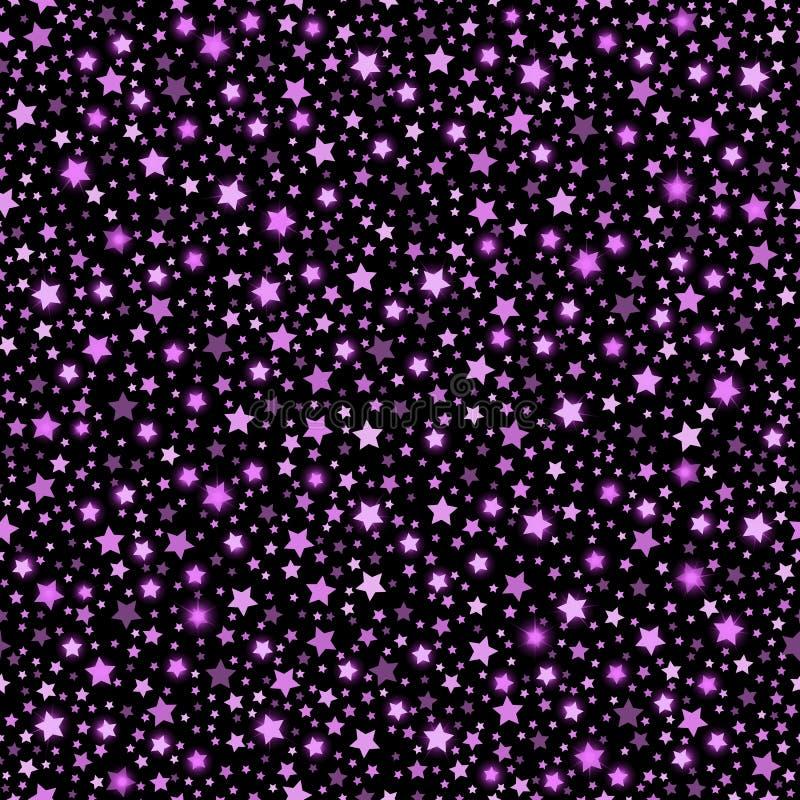 Bakgrund för svart för textur för fallande stjärnor för Violet abstrakt skinande sömlös stock illustrationer