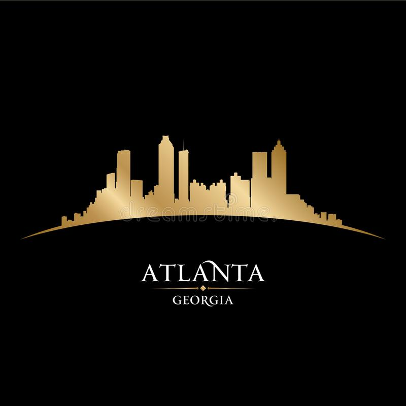 Bakgrund för svart för kontur för Atlanta Georgia stadshorisont royaltyfri illustrationer