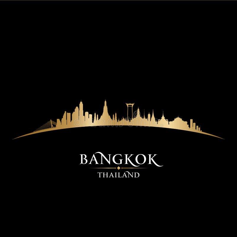 Bakgrund för svart för kontur för Bangkok Thailand stadshorisont royaltyfri illustrationer