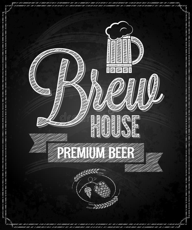 Bakgrund för svart tavla för hus för ölmenydesign royaltyfri illustrationer