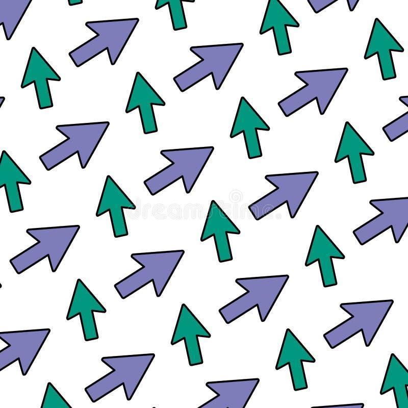 Bakgrund för symbol för riktningar för färgpiltecken stock illustrationer