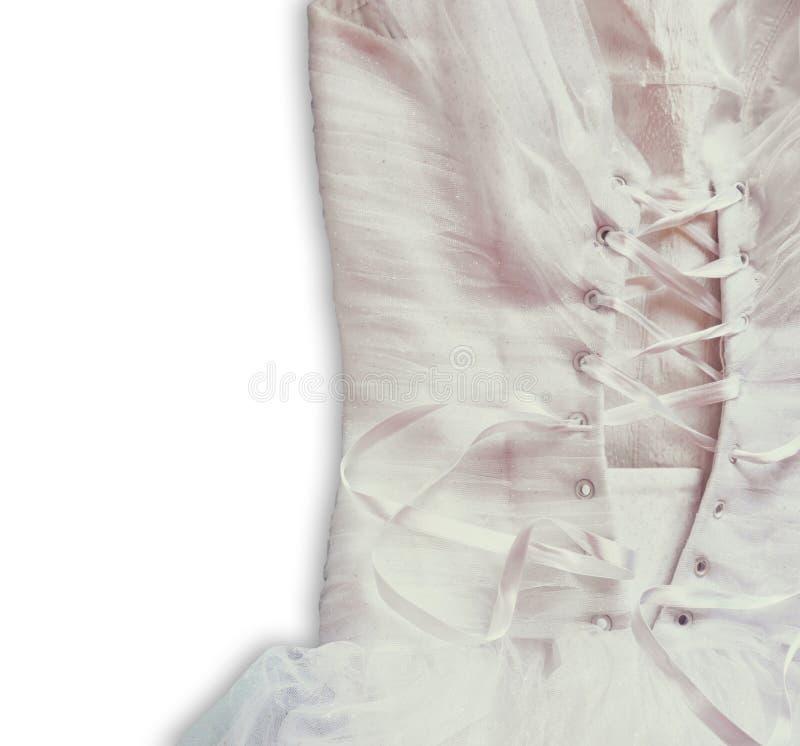 Bakgrund för tappningbröllopsklänningkorsett gifta sig för trappa för stående för brudbegreppsklänning Isolerat avbilda arkivfoton