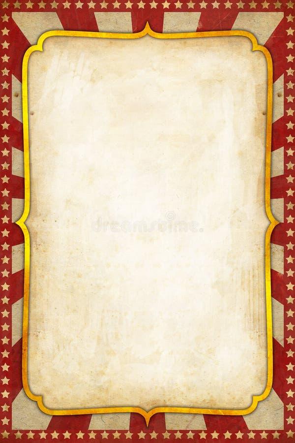 Bakgrund för tappningcirkusaffisch med sunburst och stjärnor för guld- ram röd royaltyfri illustrationer