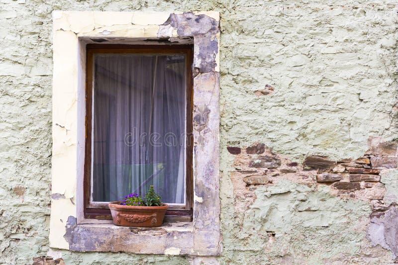 bakgrund för tappningtegelstenvägg med det gamla windowoldfönstret med blommor på en stenvägg fotografering för bildbyråer