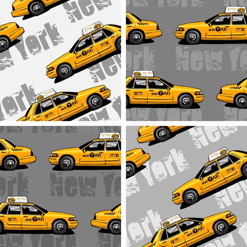 Bakgrund för taxi för New York gulingtaxi sömlös royaltyfri illustrationer