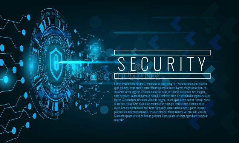 Bakgrund för techno för Cyberattack- och säkerhetsbegrepp royaltyfri illustrationer