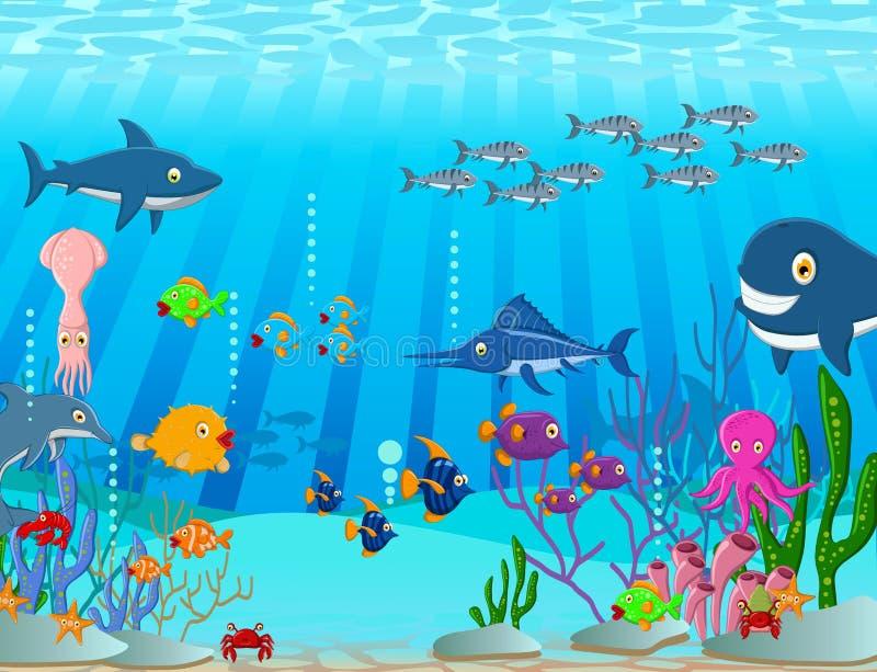 Bakgrund för tecknad film för havsliv royaltyfri illustrationer