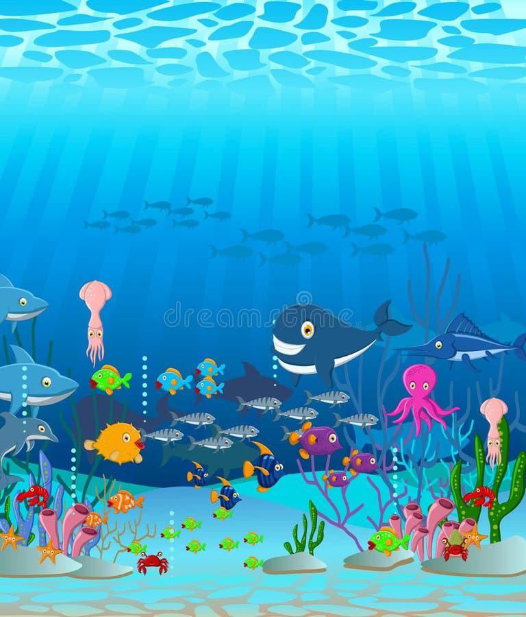 Bakgrund för tecknad film för havsliv stock illustrationer