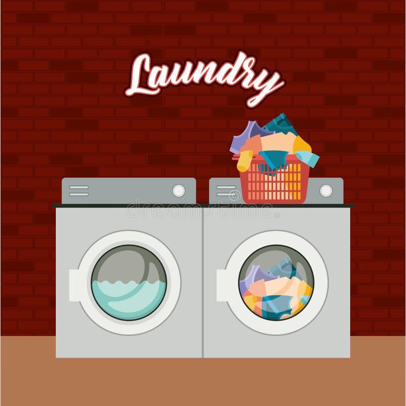 Bakgrund för tegelstenvägg av tvätterit för uppsättningwashmaskin smutsig kläder för en hög i plast- handfat royaltyfri illustrationer