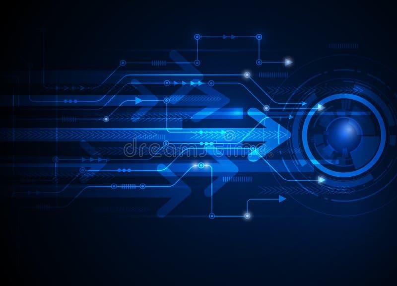Bakgrund för teknologi för abstrakt begrepp för blått för vektorillustrationhigh tech vektor illustrationer