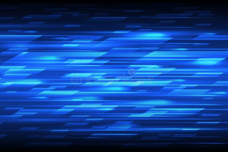 Bakgrund för teknologi för hastighetsvektorabstrakt begrepp Snabba linjer blå flyttningdesignmodell stock illustrationer