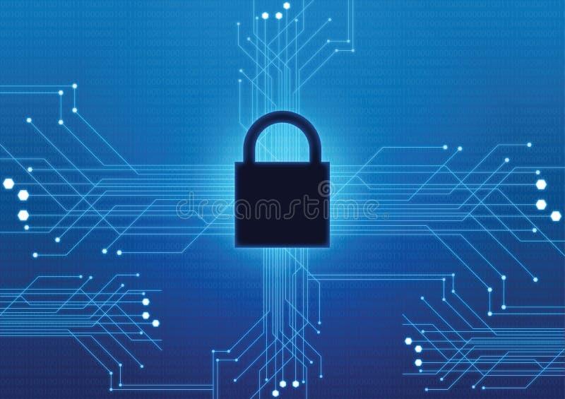 Bakgrund för teknologi för nätverk för vakt för låssäkerhetssäkerhet vektor illustrationer