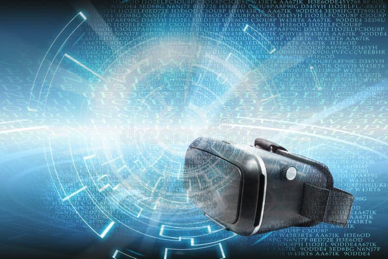 Bakgrund för teknologi för virtuell verklighetorVrdata stock illustrationer