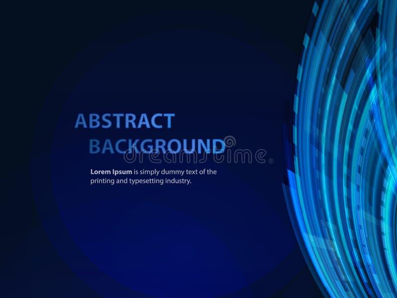 Bakgrund för teknologiabstrakt begreppblått med stordiahologrammet och former stock illustrationer
