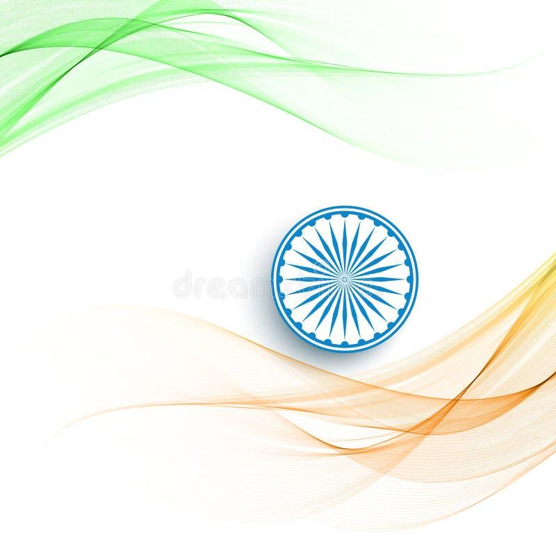 Bakgrund för tema för flagga för härlig vågstil indisk stock illustrationer