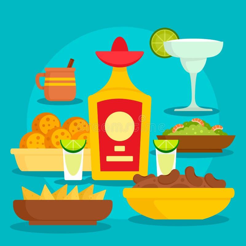 Bakgrund för Tequilamatbegrepp, plan stil royaltyfri illustrationer