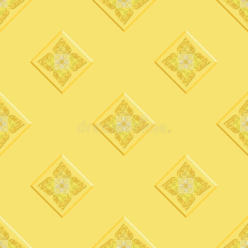 Bakgrund för textur för modell för guling för `-Lai Thai ` kunglig orientalisk sömlös stock illustrationer