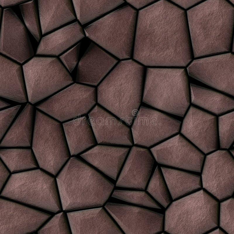 Bakgrund för textur för modell för kullerstenstenmosaik sömlös - bruna naturliga kulöra stycken för trottoar stock illustrationer