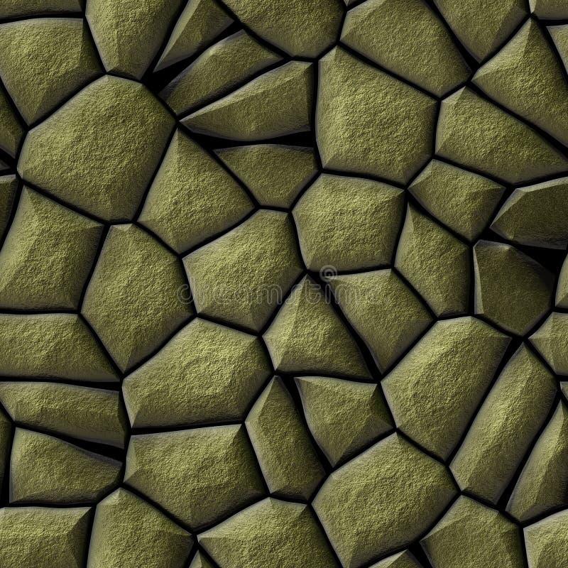 Bakgrund för textur för modell för kullerstenstenmosaik sömlös - guld- naturliga kulöra stycken för trottoar stock illustrationer