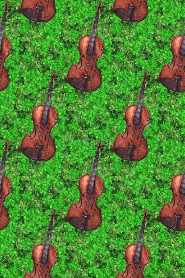 Bakgrund för textur för modell för trätappningfiol för lurendrejeri för vattenfärgför musikinstrument för växt av släktet Trifoli stock illustrationer