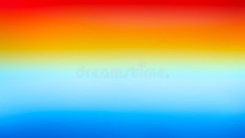 Bakgrund för textur för vattenfärg för baner för röd för orange guling lutning för blått ljus färgrik horisontal stock illustrationer